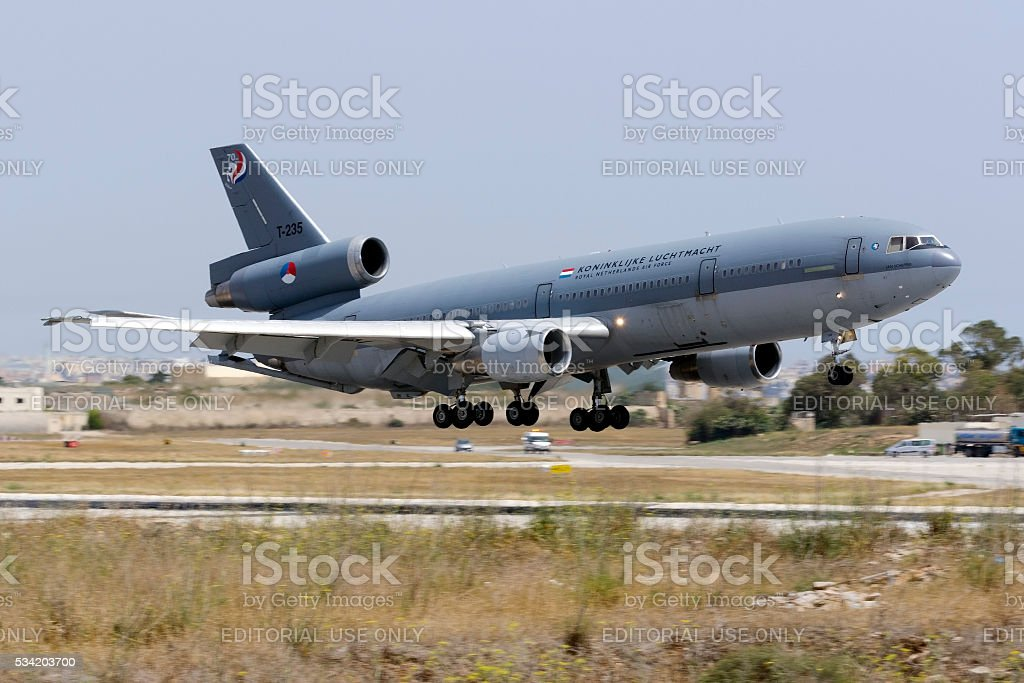 Dutch in-flight refuelling tanker landing. stock photo