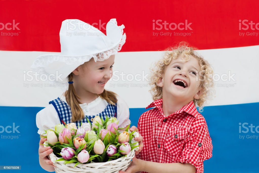 Dutch kids with tulip flowers and Netherlands flag stock photo