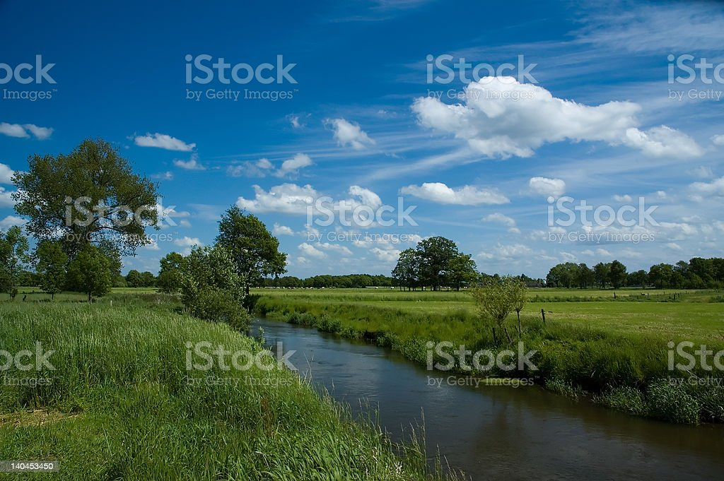 Dutch landscape with river royalty-free stock photo