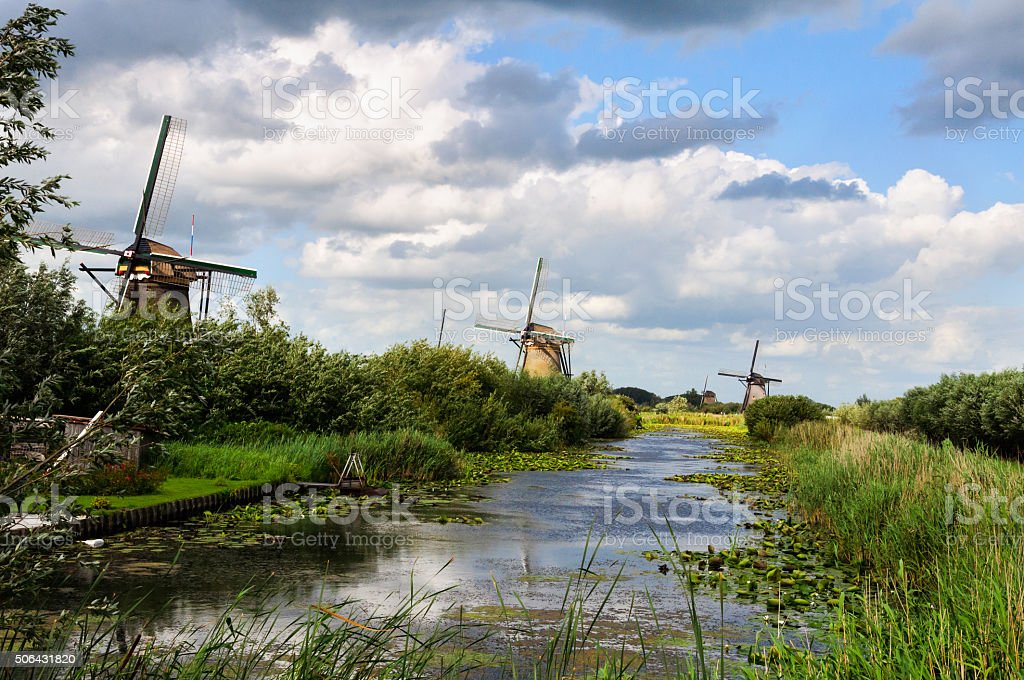 Dutch landscape with three mills stock photo