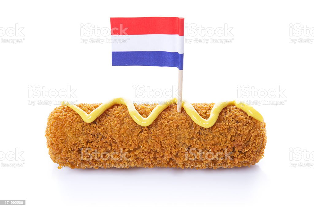 Dutch meat croquette ('kroket'), mustard, Dutch flag, isolated on white royalty-free stock photo