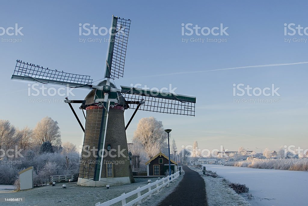 Dutch Mill in winter royalty-free stock photo