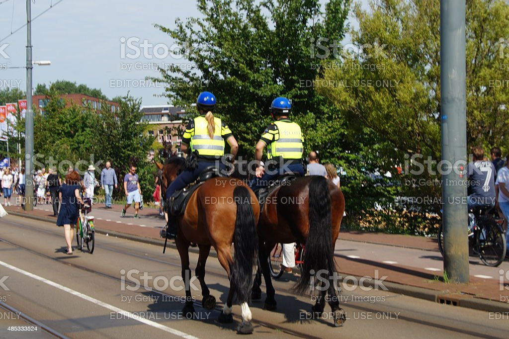 Dutch mounted police officers stock photo