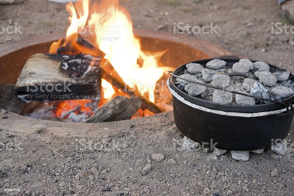 Dutch Oven Cooking stock photo