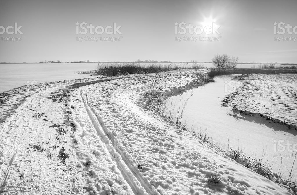 Dutch polder in winter, B and W. royalty-free stock photo