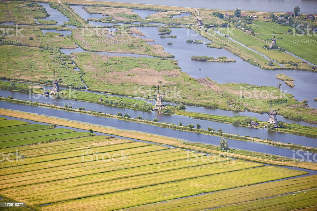 Dutch polder landscape at Kinderdijk stock photo