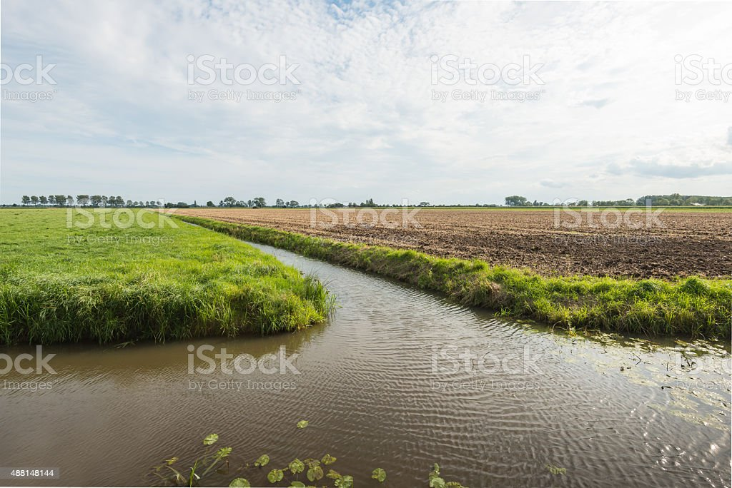 Dutch polder landscape divided by the water stock photo