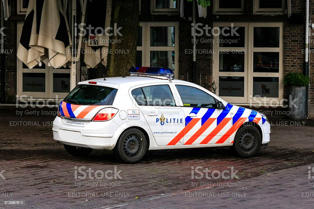 Dutch Police vehicle in the town of Breda, Netherlands stock photo