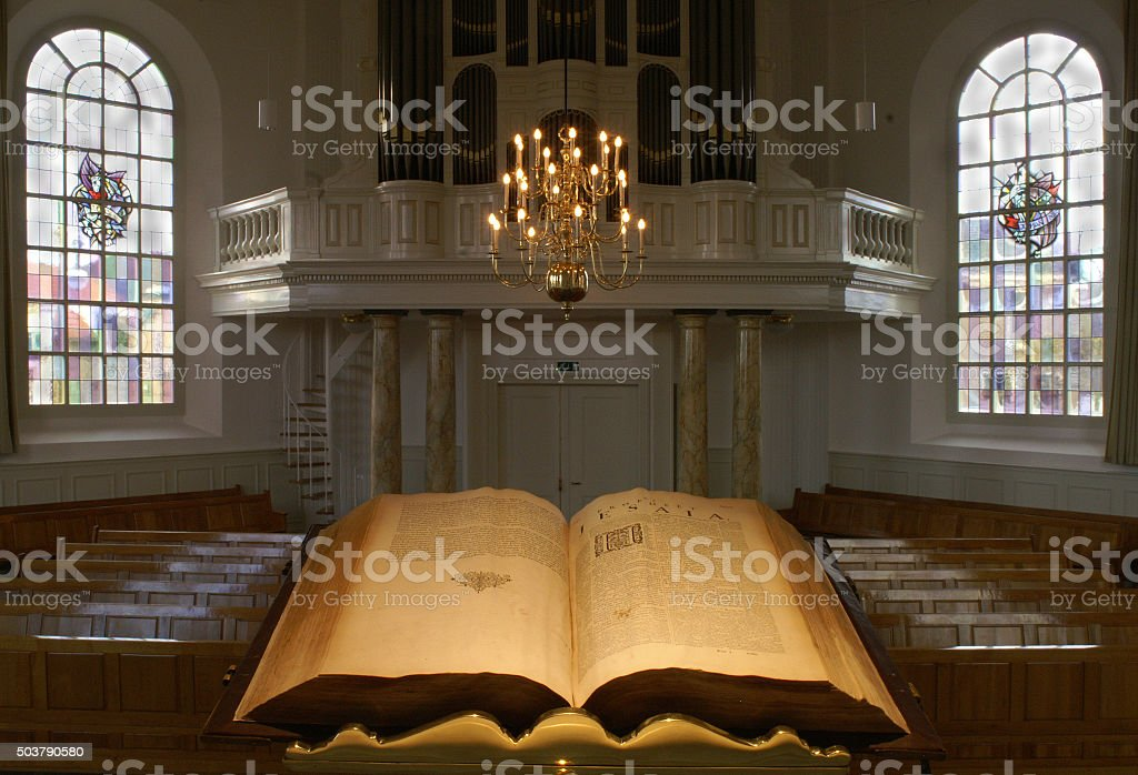 Dutch protestants church interior, seen from the pulpit stock photo