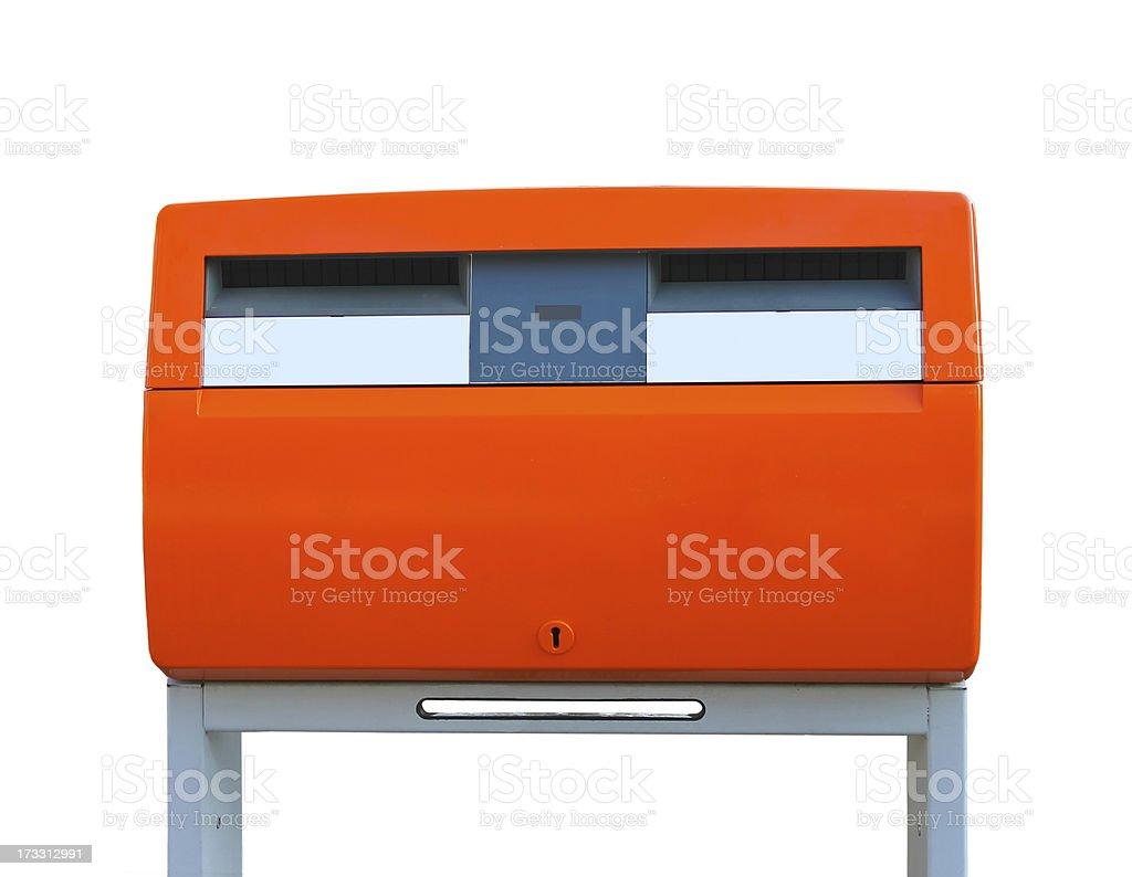 Dutch public mailbox orange  isolated on white. Netherlands royalty-free stock photo