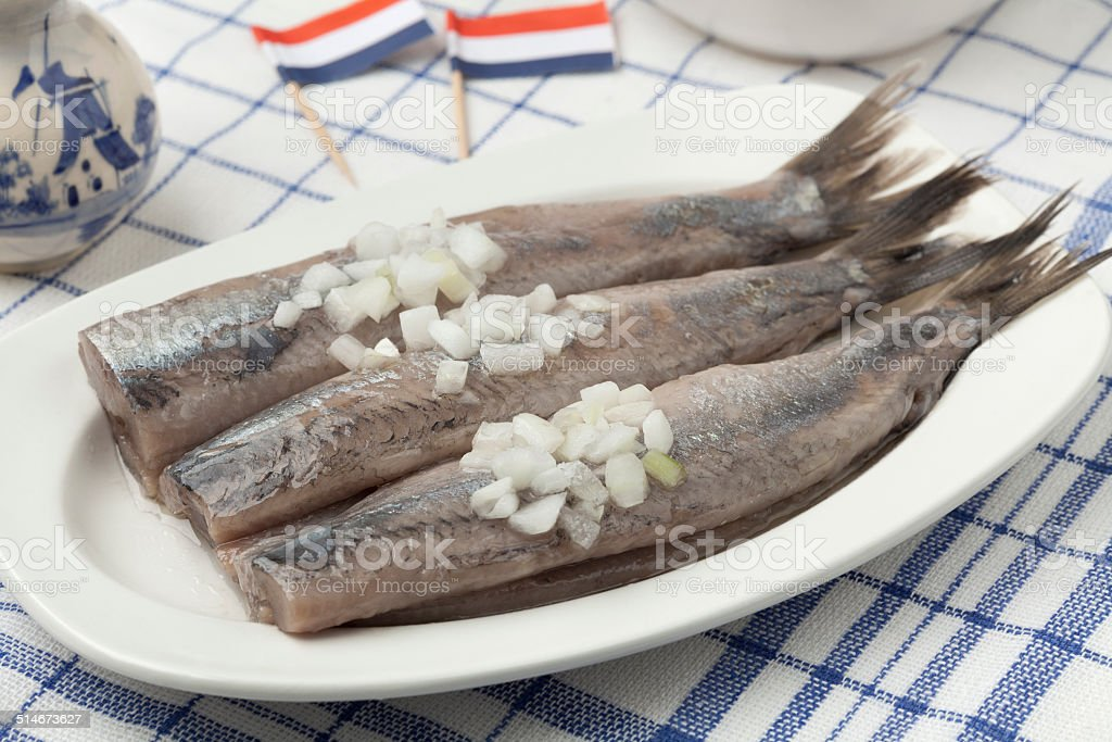 Dutch raw herring stock photo