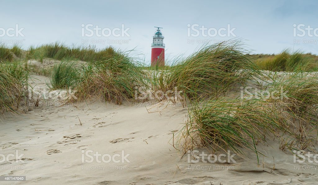 Dutch red lighthouse, at Texel  The Netherlands stock photo