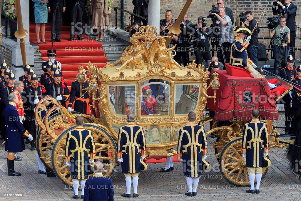 Dutch royals leaving Binnenhof during Prinsjesdag in The Hague stock photo