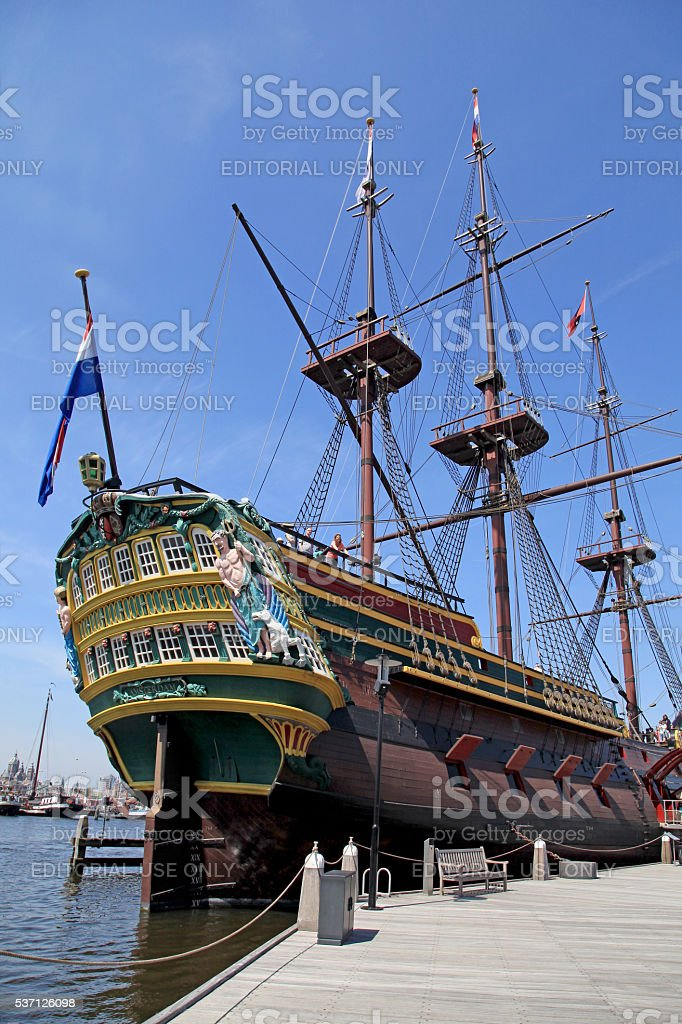 Dutch sailing cargo galleon ship of 17th century stock photo