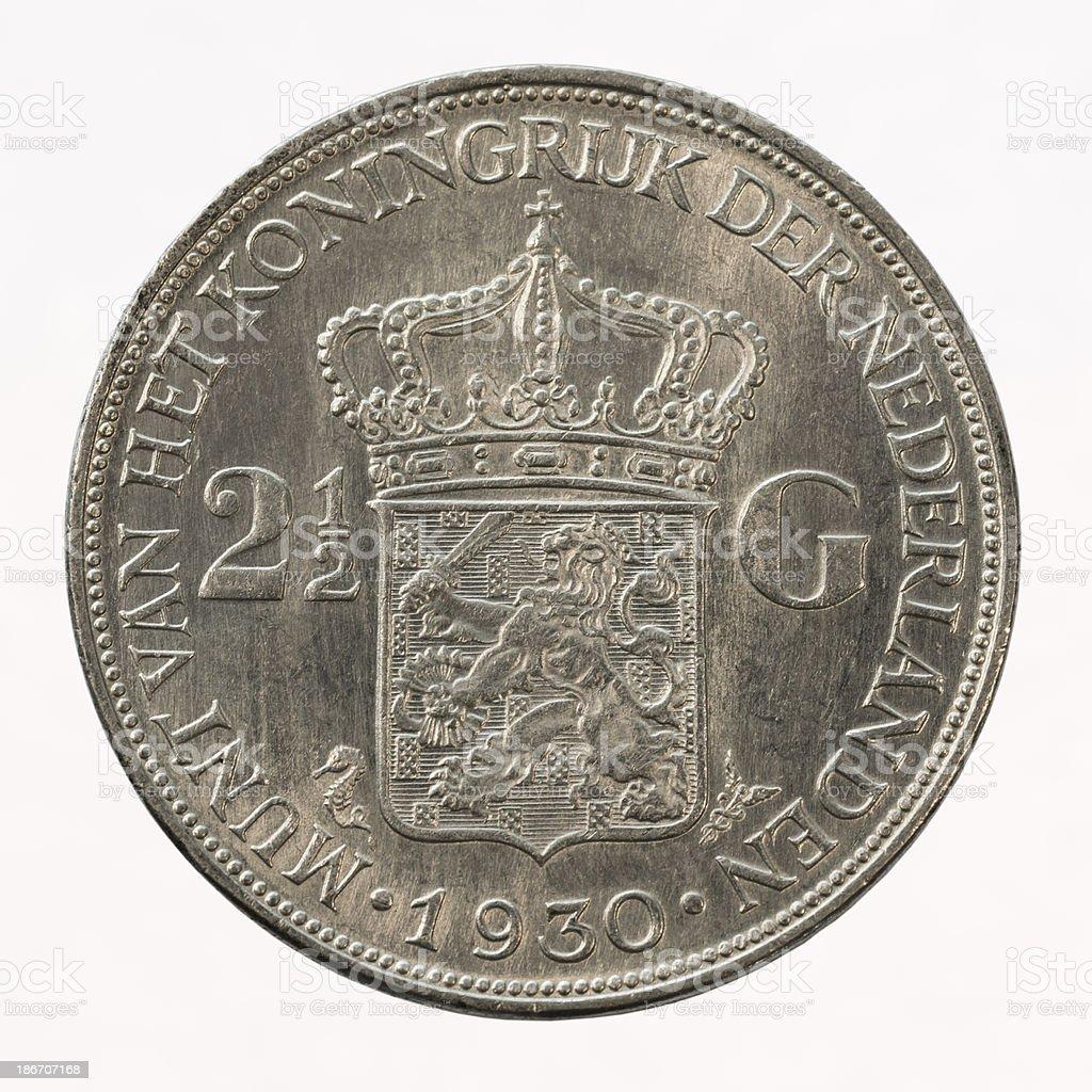 Dutch Silver Coin stock photo