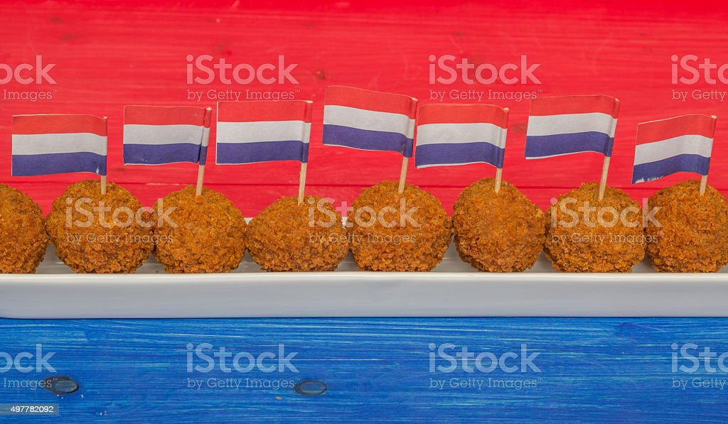 Dutch snacks with little dutch flags stock photo