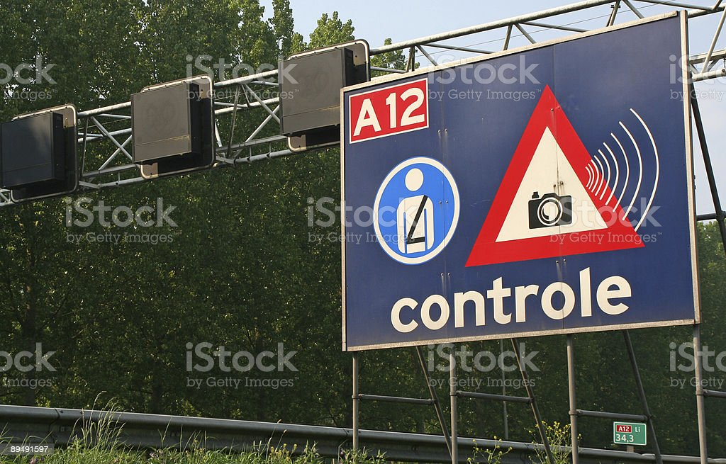 Dutch speed and seat belt control royalty-free stock photo