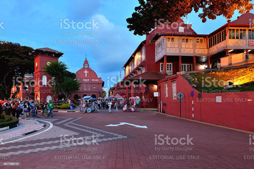 Dutch Square and Red House in Malacca stock photo
