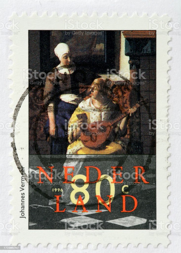 Dutch stamp showing painting 'The Love Letter' by Johannes Vermeer stock photo