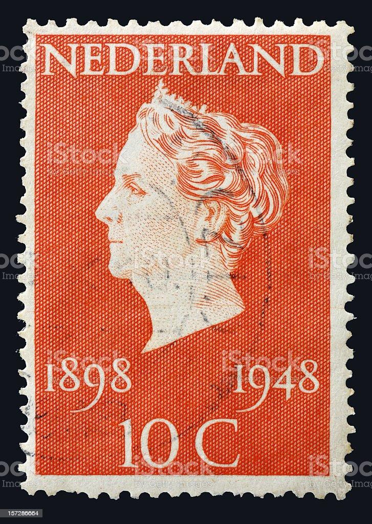 Dutch stamp (1948)  showing queen Wilhelmina of the Netherlands portrait royalty-free stock photo