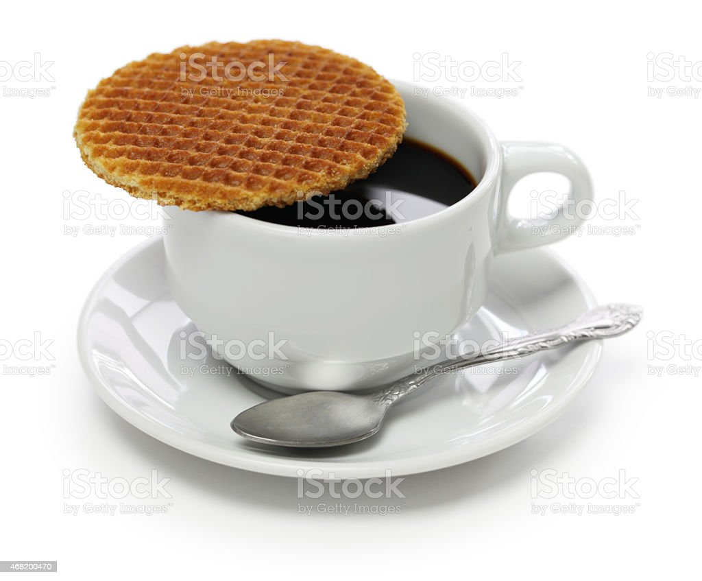 dutch stroopwafel and coffee stock photo