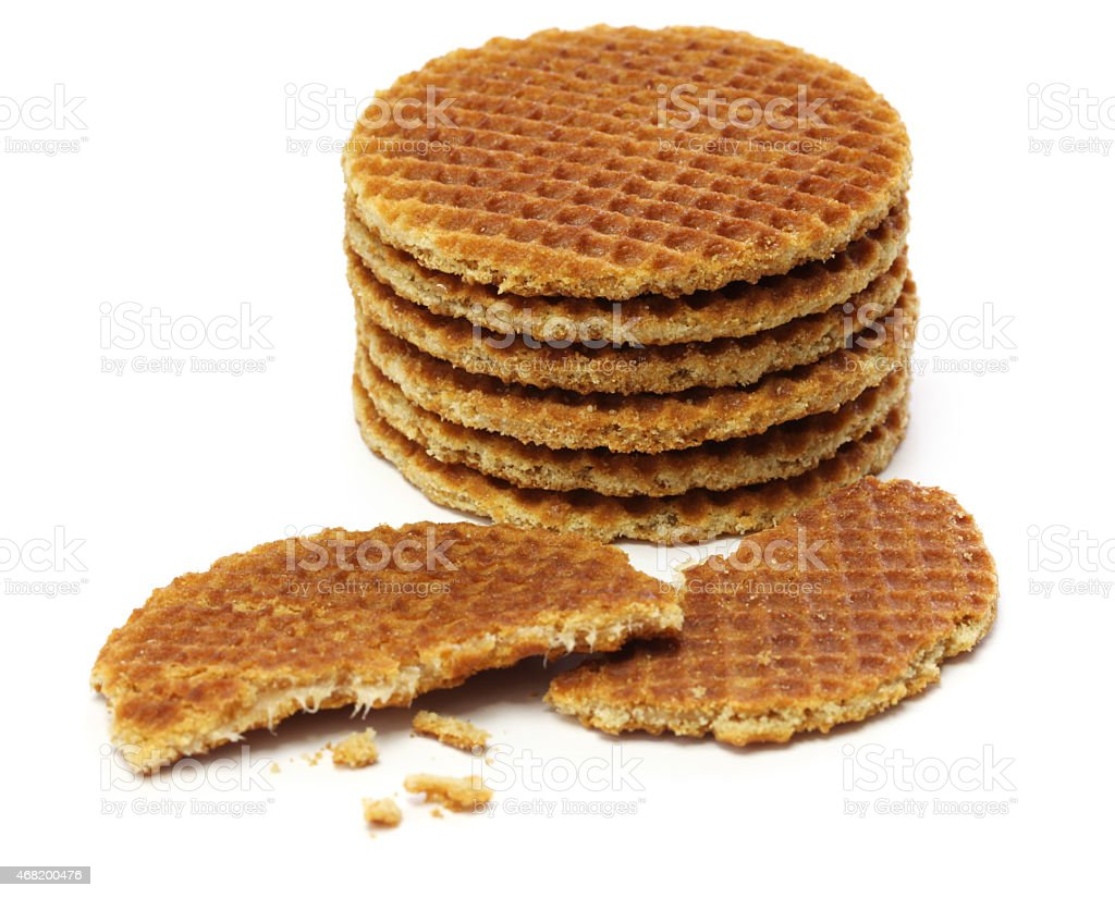 dutch stroopwafel, caramel waffle stock photo