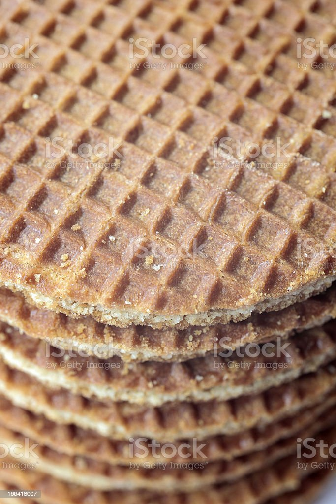 Dutch 'stroopwafels', two waffles with a treacle layer in between stock photo