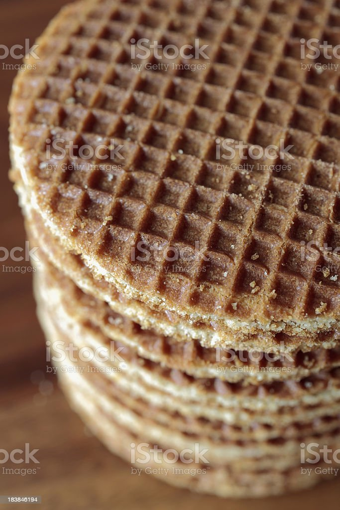 Dutch 'stroopwafels', waffles with a treacle layer in between stock photo