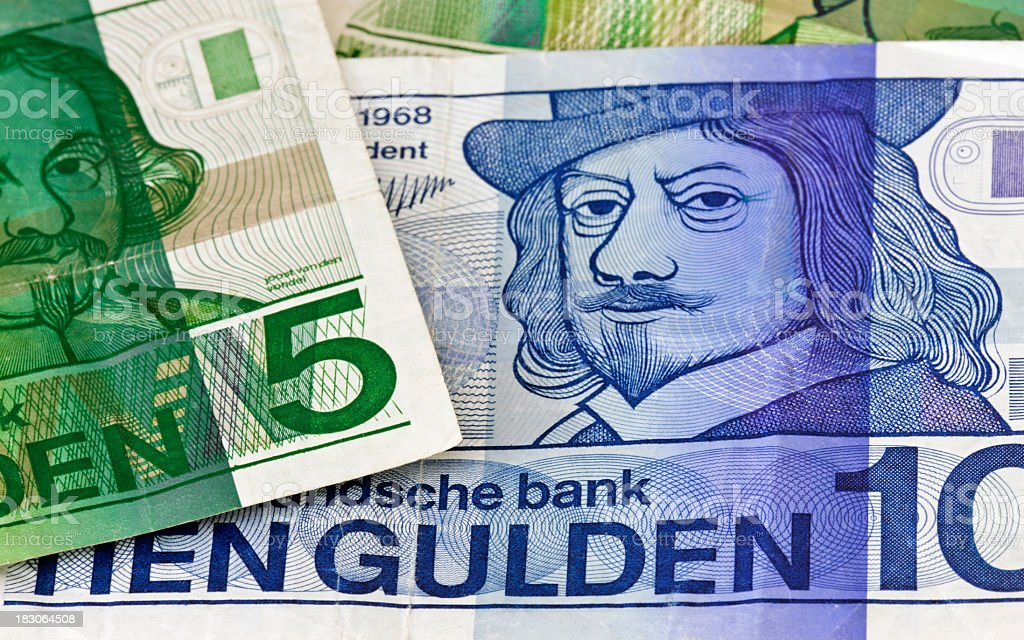 Dutch ten Guilder banknote close-up stock photo