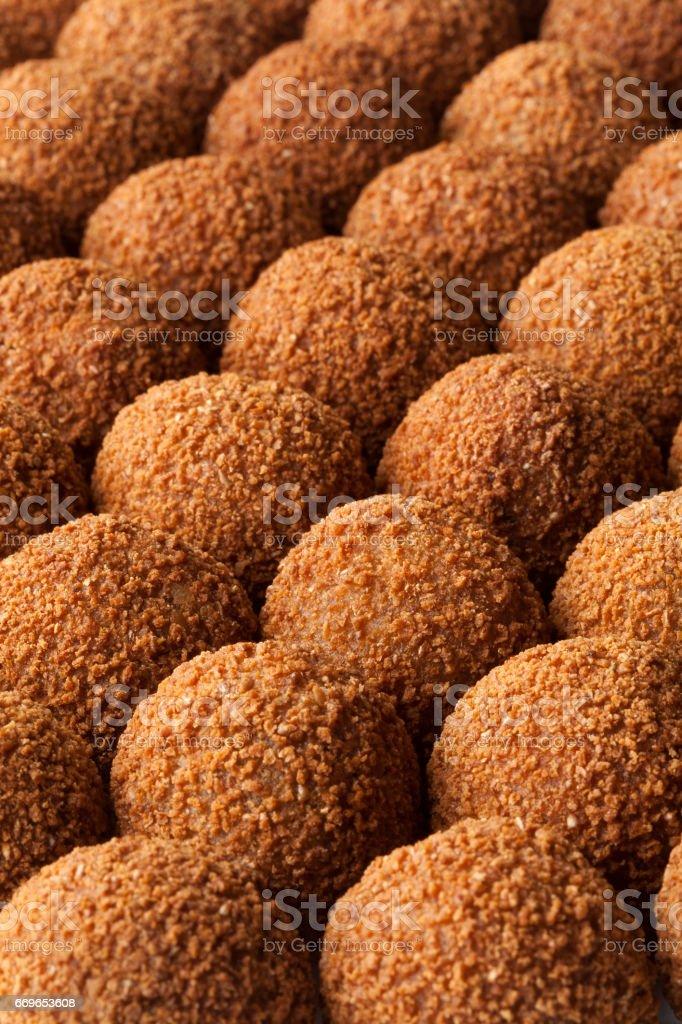 Dutch traditional snack bitterballen full frame stock photo
