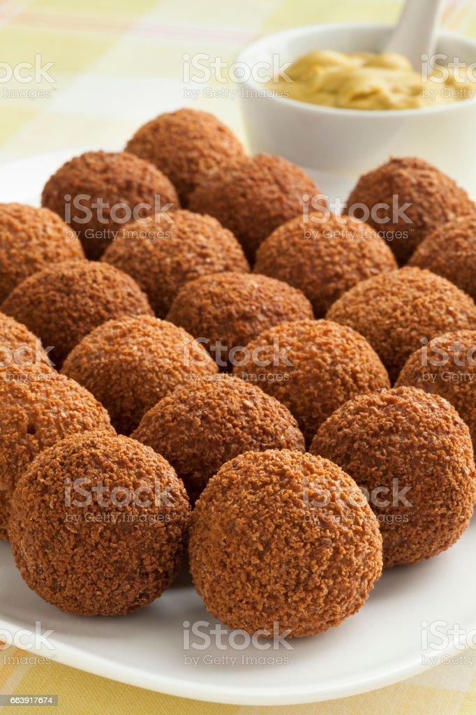 Dutch traditional snack bitterballen stock photo