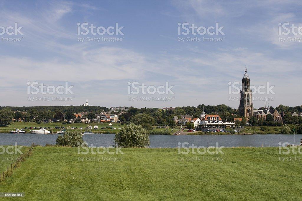 Dutch village on waterfront royalty-free stock photo