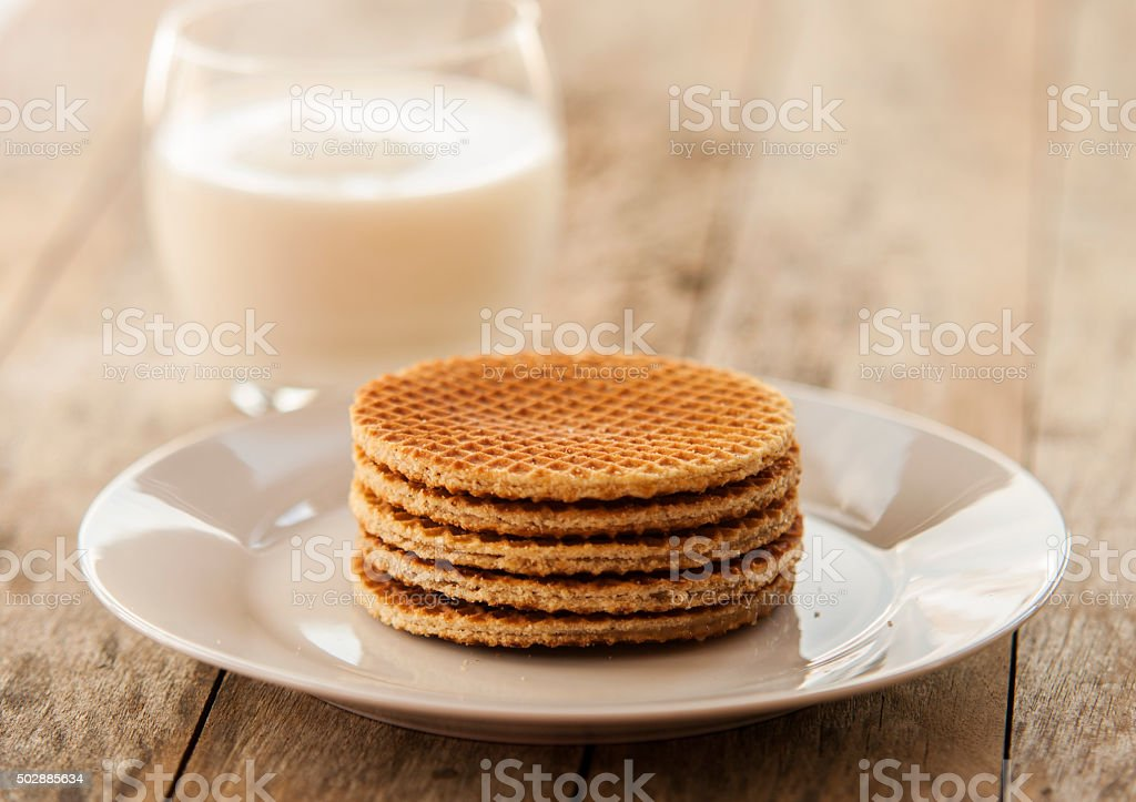 Dutch Waffles close up stock photo