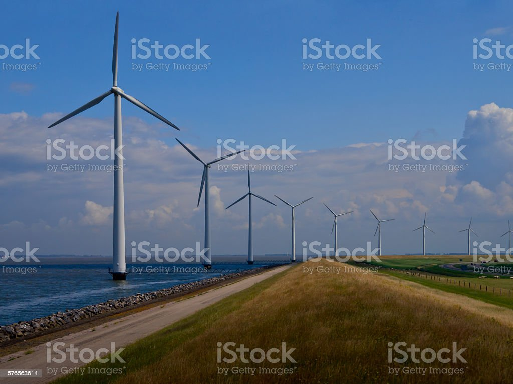 Dutch windfarm overview stock photo