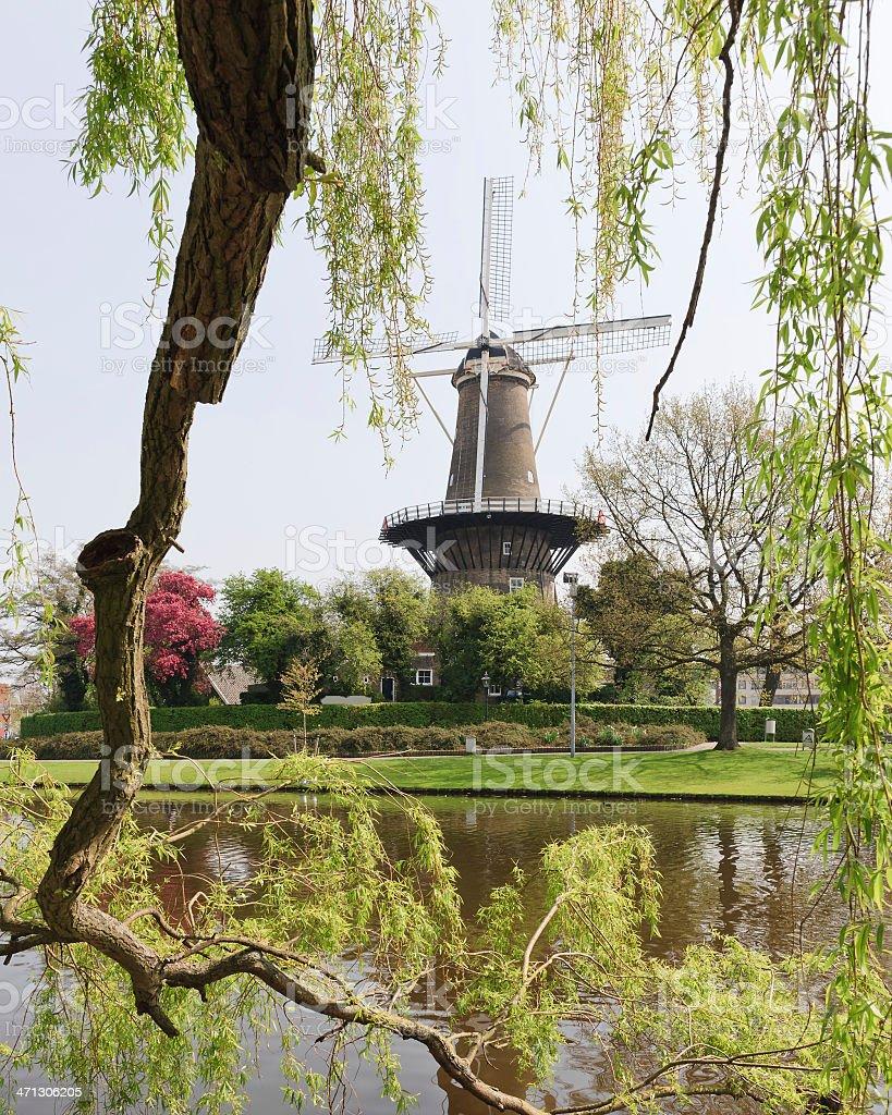 Dutch windmill in leiden stock photo