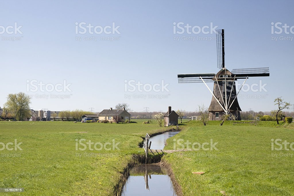 Dutch windmill in Nigtevecht royalty-free stock photo