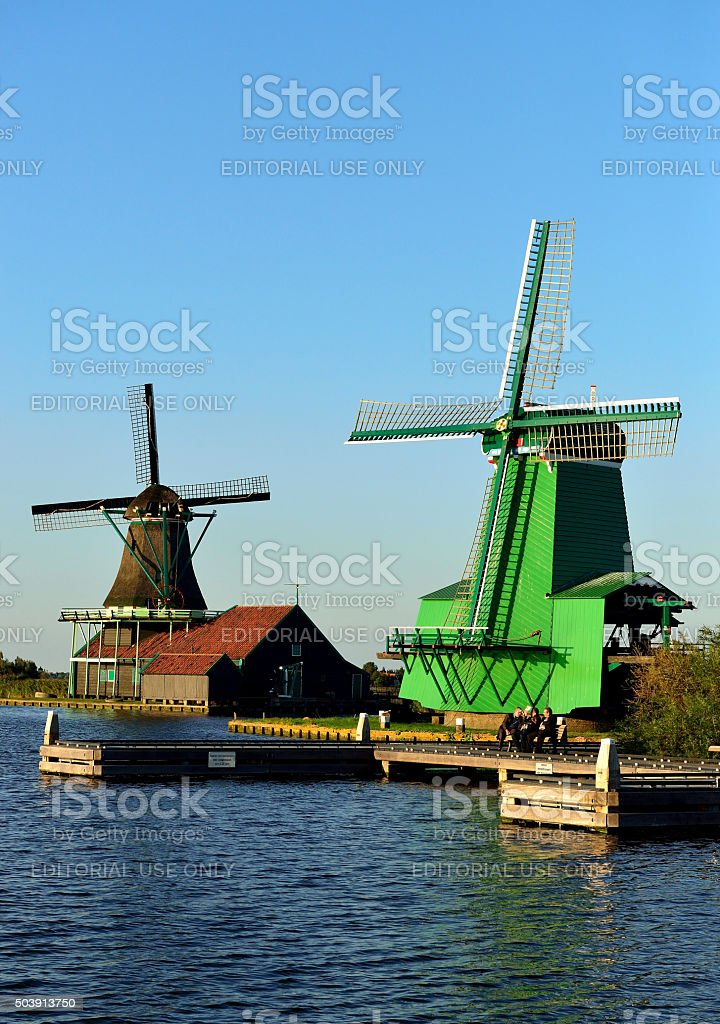 Dutch windmills at de Zaanse Schans stock photo