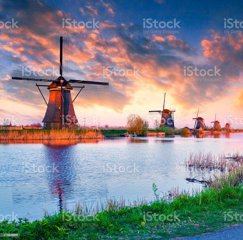 Dutch windmills at Kinderdijk stock photo
