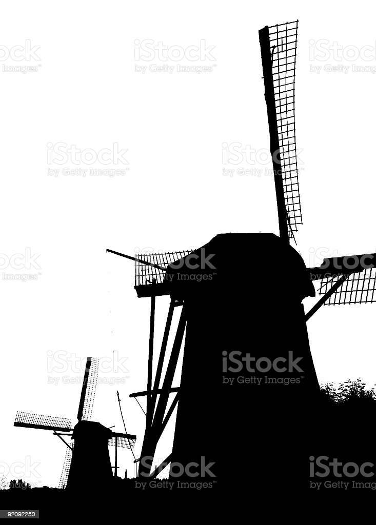 Dutch windmills in Kinderdijk 10 royalty-free stock photo