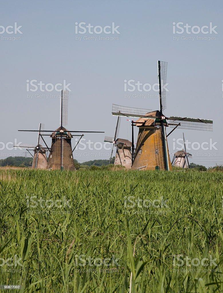 Dutch windmills in Kinderdijk 9 royalty-free stock photo