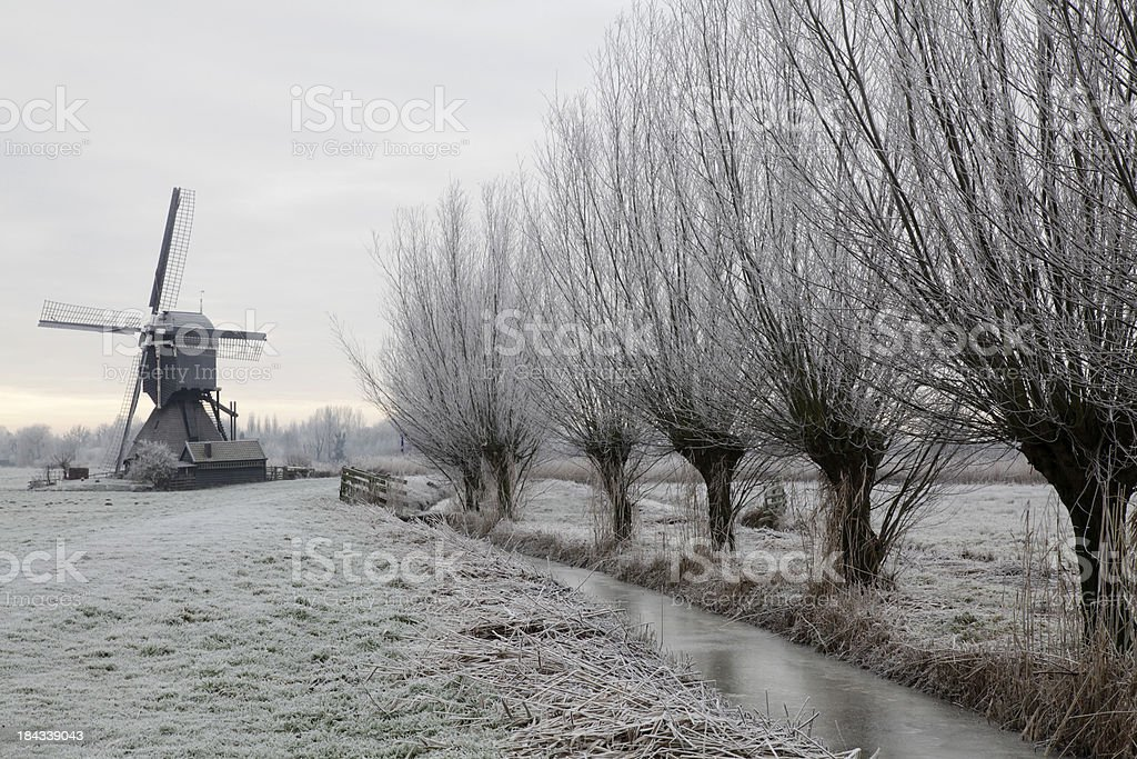 Dutch winterlandscape stock photo