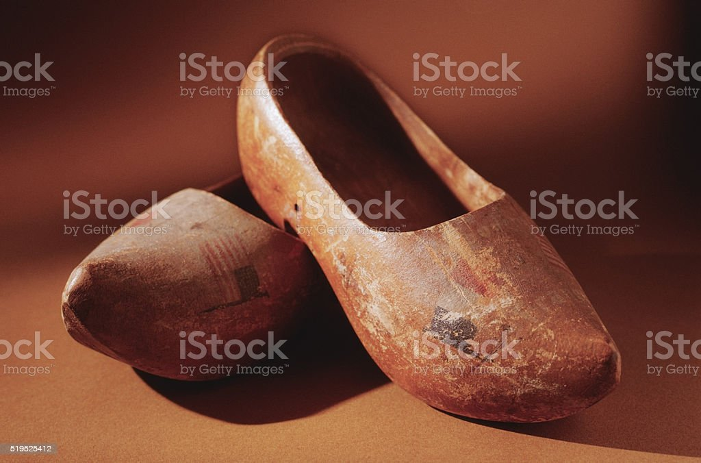 Dutch wooden clogs stock photo