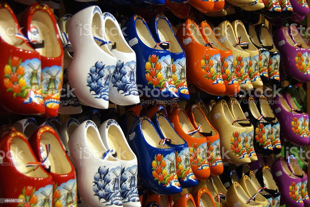 Dutch wooden shoes for sale - souvenir clogs stock photo