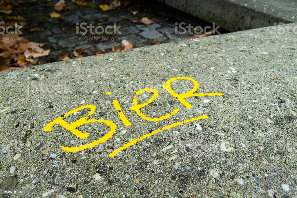 Dutch word for beer written on concrete stock photo