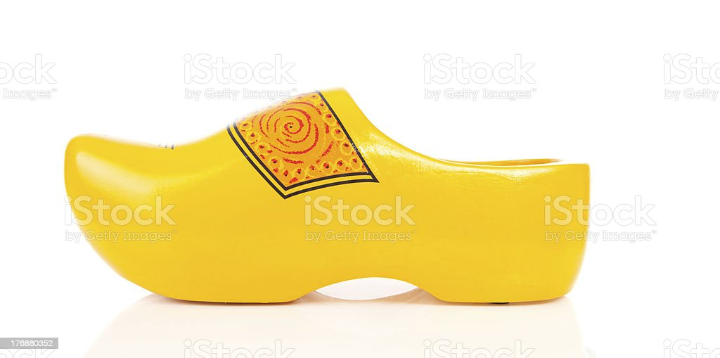 Dutch yellow wooden shoe stock photo