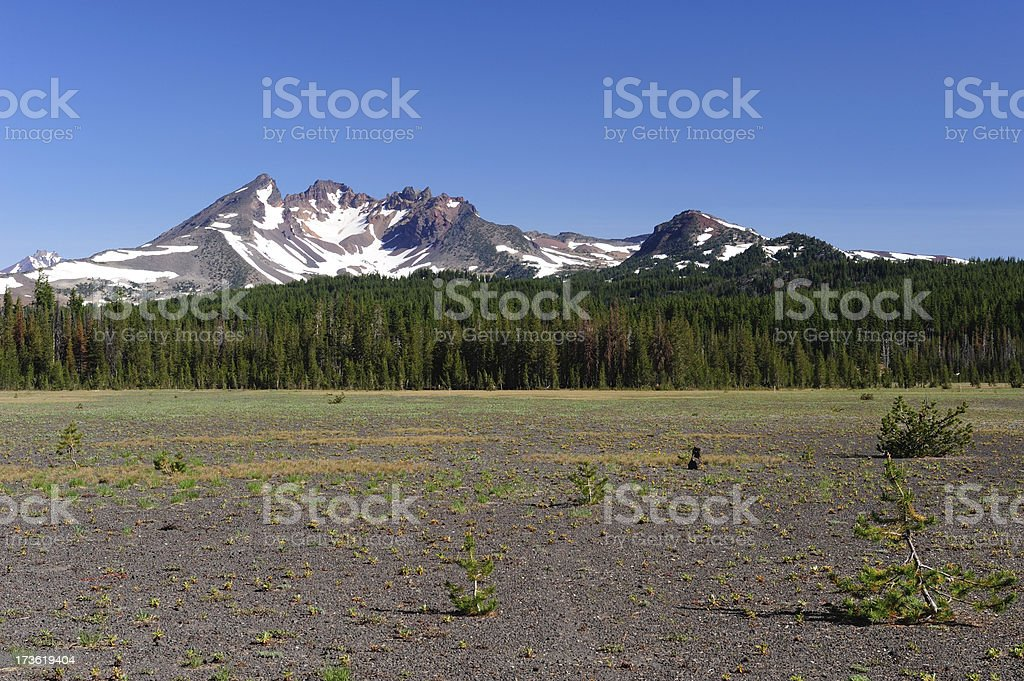 Dutchman's Flat and Broken Top Mountain stock photo