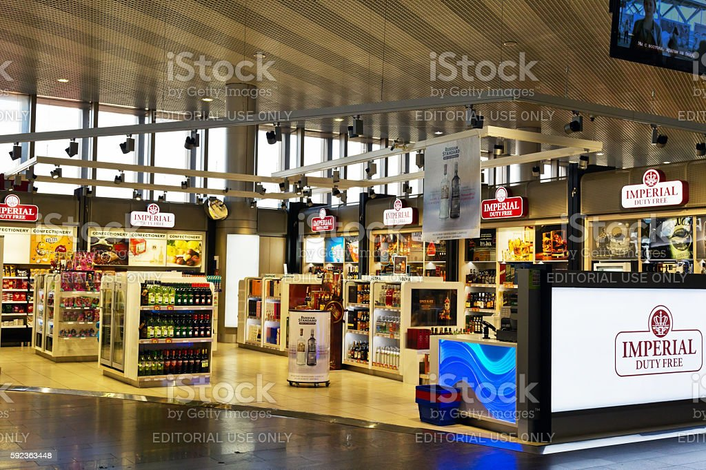 Duty free at the airport Sheremetyevo stock photo