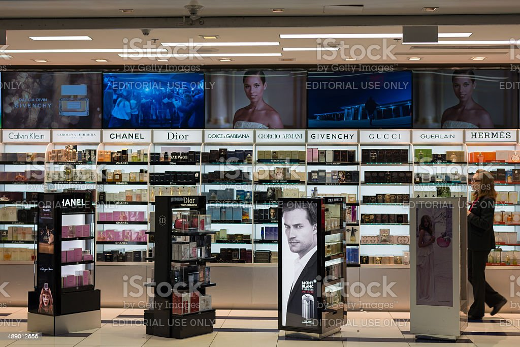 Duty Free cosmetics store at Miami International Airport stock photo