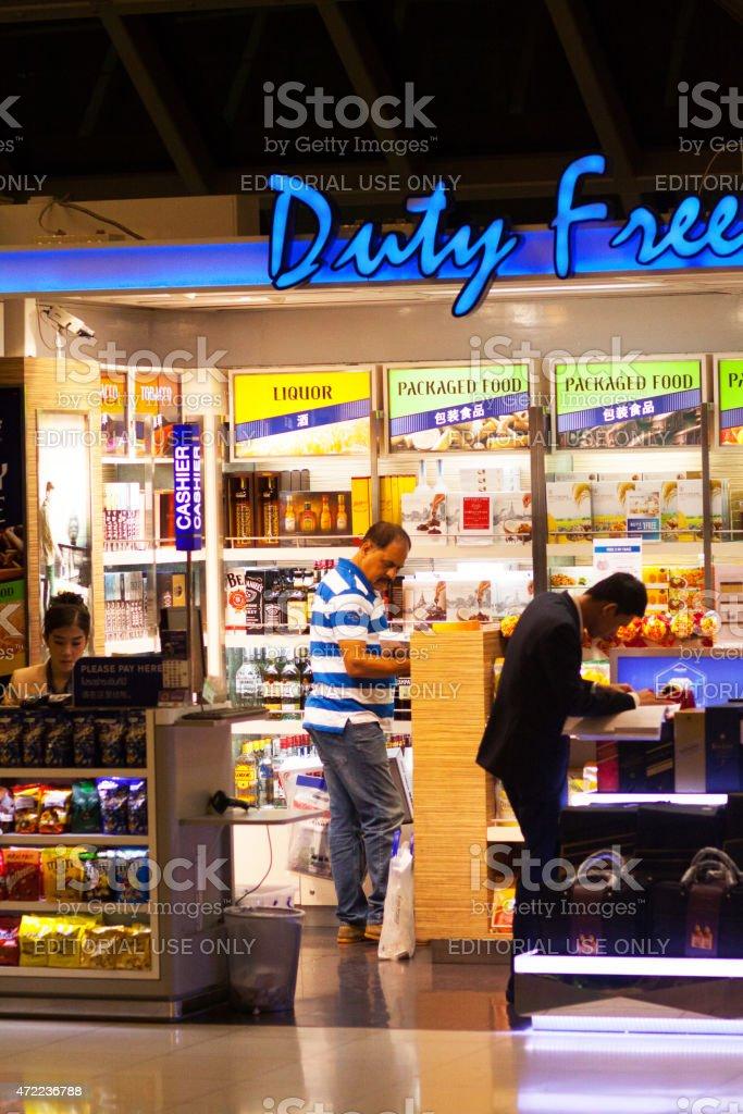Duty free food shop in airport Survanabhumi stock photo