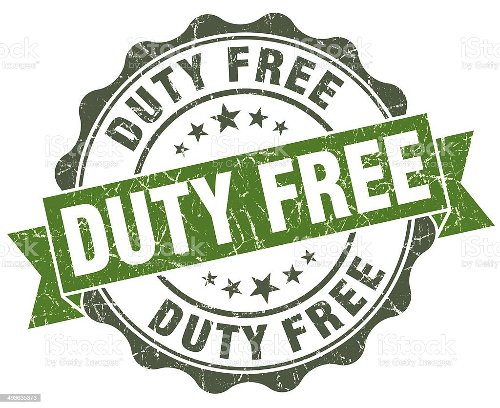 Duty free green grunge retro style isolated seal stock photo